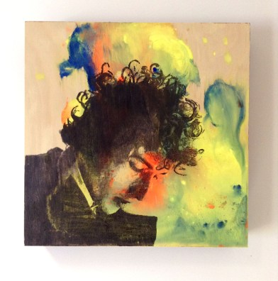 "8x8"" painting on wood to purchase: Bob Dylan"