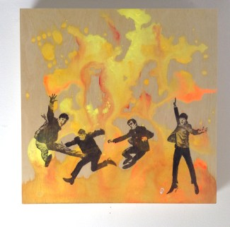 "12x12"" painting on wood to purchase: The Beatles HELP"
