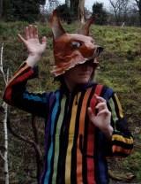 tête de renard posée en casque