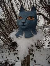 chat bleu à plume
