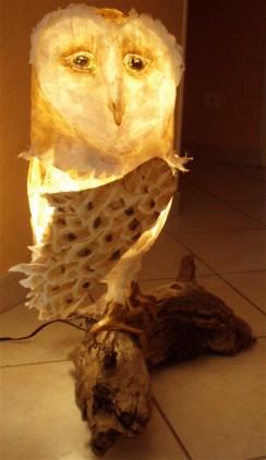 chouette effraie lumineuse, papier de soie