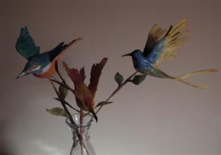 oiseaux-fleurs en papier en bouquet