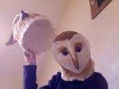 2 masques chouette et hibou , papier de soie