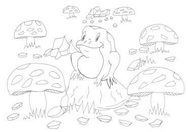 Happy Frog - Line Art