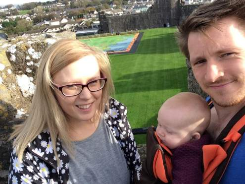 Us with our baby at Pembroke Castle
