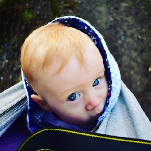 Our baby in the baby carrier around Exmoor Zoo