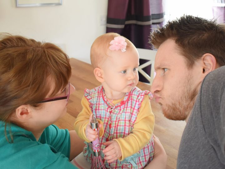 me and Rachel with Isabelle. We do argue in front of our children, or child, but we're not doing it here