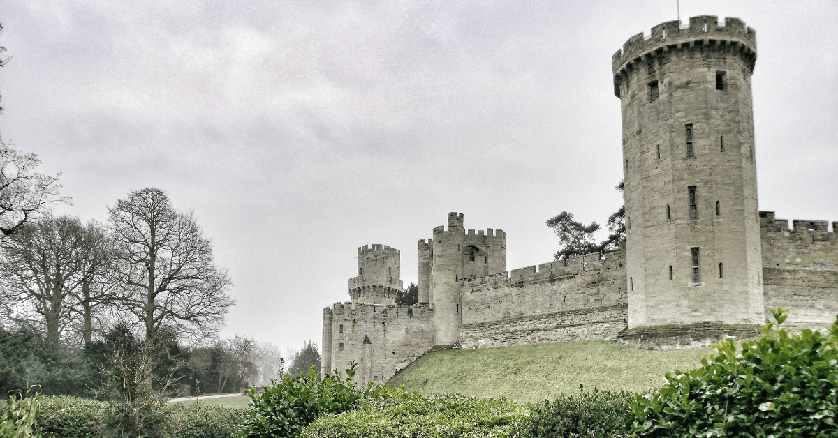 Warwick castle with a toddler
