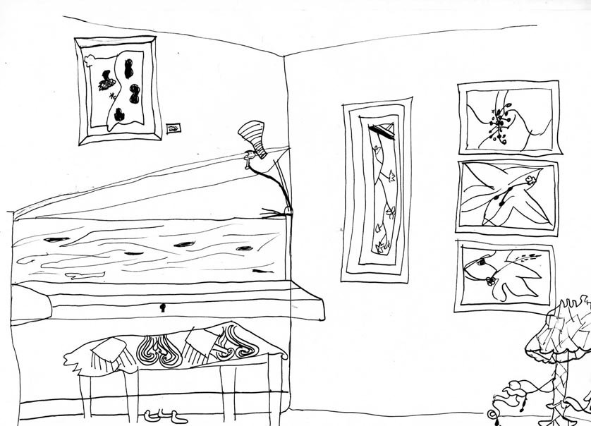 Drawing of the Living Room wall, with Piano and hung artwork.