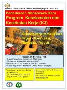Fakultas Teknik Industri USAHID membuka program Teknik K3L