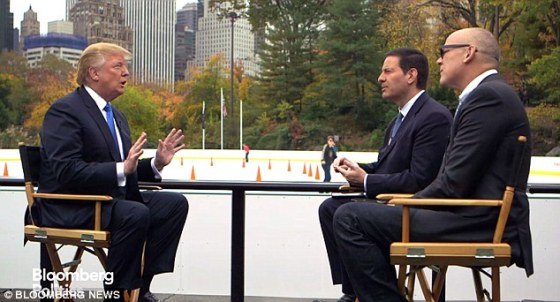 Trump interviewed by Bloomberg TV at Wallman Rink