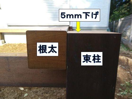 5mm束柱を下げる