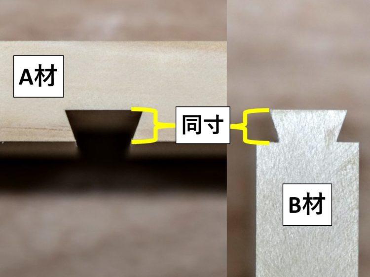 A材の溝深さとB材のあり形の高さが同じ寸法