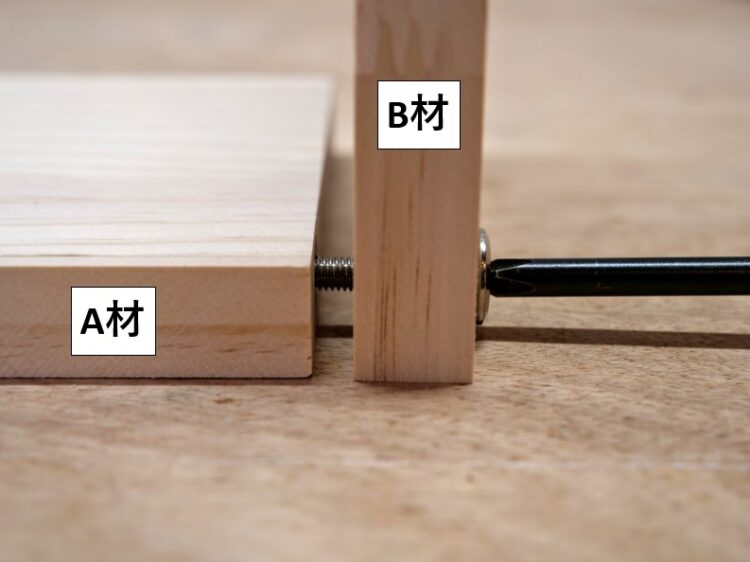 B材外側からネジ・ボルトを締め込む