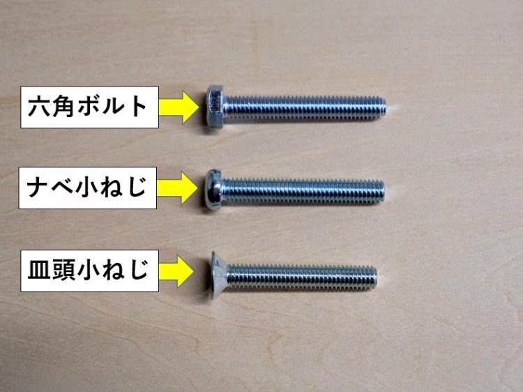 様々な種類のボルト・ネジ