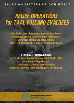 Salesian Sisters of Don Bosco Taal Relief Efforts Poster
