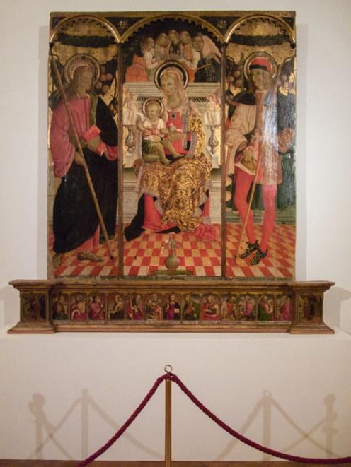 """Trittico di Paolo Bontulli """"Madonna col Bambino e santi"""" 1507."""