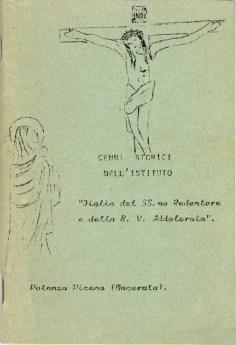 """Copertina del libro Cenni storici dell'Istituto """"Figlie del SS.mo Redentore e della B. V. Addolorata"""""""