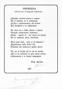 Sonetto del Prof. Arturo Sardini dedicato ad Arnaldo Cingolani.