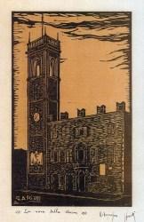 Xilografia del Prof. Giuseppe Asciutti dal titolo La Voce della Storia dedicata alla Torre Civica con il Palazzatto del Podestà.