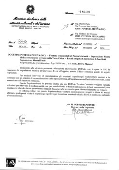 Lettera della Soprintendenza ai Monumenti di Ancona del 9 Marzo 2016 relativa alla Fontana di Piazza Matteotti.