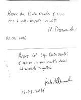 Somme incassate dalla vendita del libro e consegnate al Dott. Roberto Domenichini.