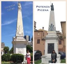 Amalia Fontinovo ai piedi della Piramide de Mayo di Buenos Aire e Potenza Picena.