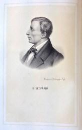 Litografia di Giacomo Leopardi tratta dal Volume sulla storia d'Italia del 1864 di Giuseppe Pistelli. Foto di Elena Garbuglia.