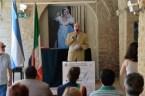 Emilio Zamboni espone la cronistoria dell'Indipendenza argentina. Manifestazione Bicentenario indipendenza argentina 9 luglio 2016. Foto di Enzo Romagnoli.
