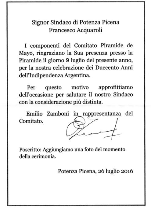 Lettera di ringraziamento di Emilio Zamboni al Sindaco Francesco Acquaroli.