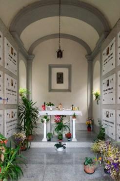 Interno della Cappella dove è sepolto padre Pietro Lavini presso il cimitero di Potenza Picena. Foto Sergio Ceccotti. Foto Sergio Ceccotti.