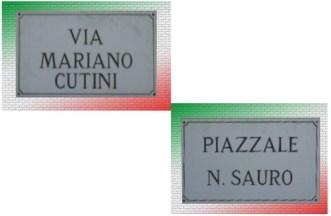 Targhe Piazzale Nazario Sauro e Via Mariano Cutini.