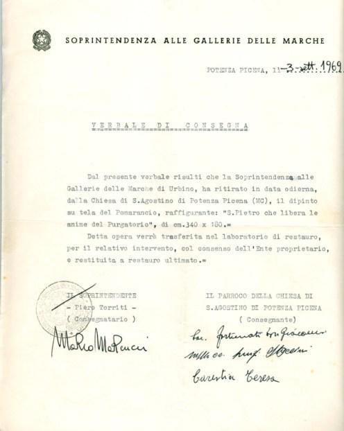 Lettera della Soprintendenza di Urbino del 3-9-1969 quando ha ritirato il quadro a Potenza Picena per il restauro. Archivio Storico Comunale.