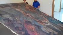 Fasi trasferimento della tela del 29/9/2016 dal Monastero delle Clarisse alla Pinacoteca Comunale. Foto Simona Ciasca.