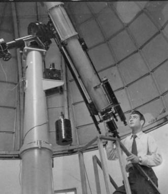 Reinaldo Carestia all'interno dell'Osservatorio Astronomico. Foto Beniamino Carestia.
