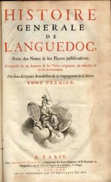 Frontespizio de Histoire generale de Languedoc. Parigi 1730.