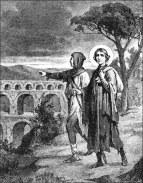 Incisione raffigurante Gérard e il fratello Effrénaud nei pressi di Pont du Gard. (tratta da: http://www.nemausensis.com/rochefort/NotreDame/StGerardDeLunel.html )