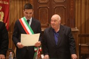 Don Vincenzo Galiè insieme al Sindaco Francesco Acquaroli. Foto di Luigi Anzalone.