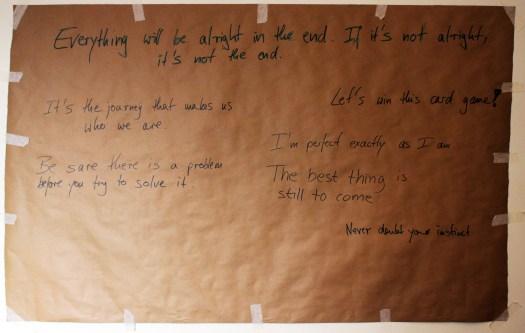 Motivational Quotes on the wall, brain tumour