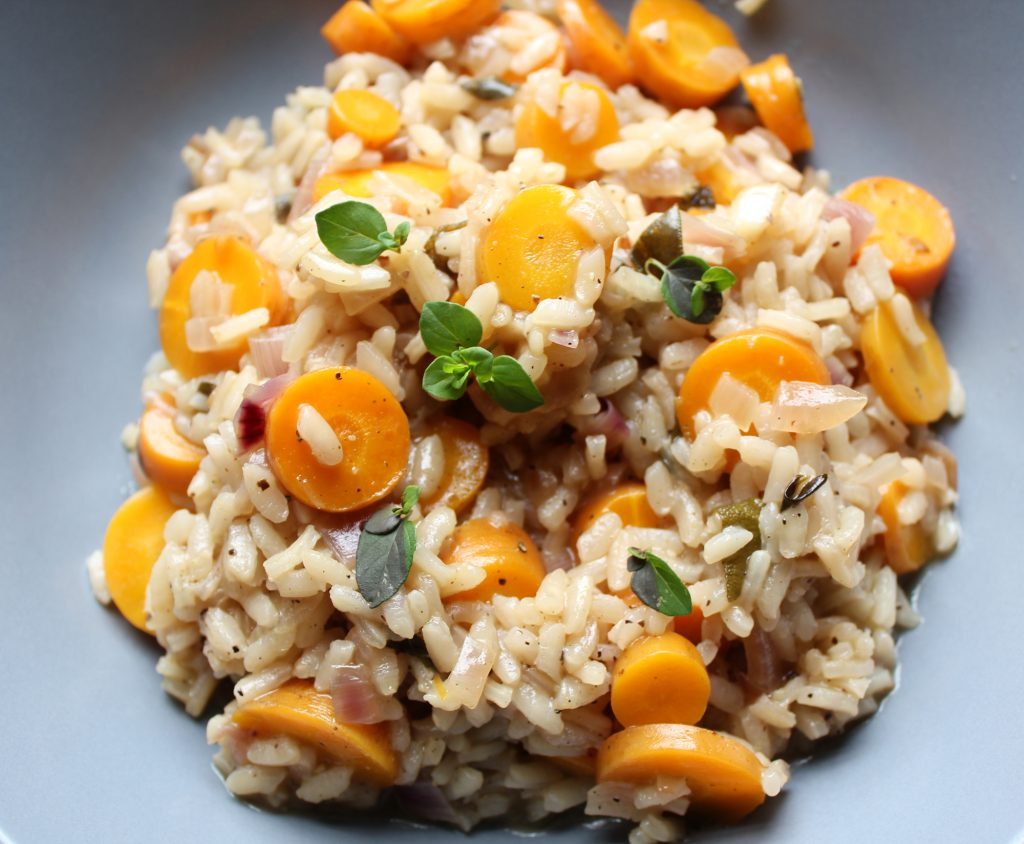 carrot risotto herbs plant-based