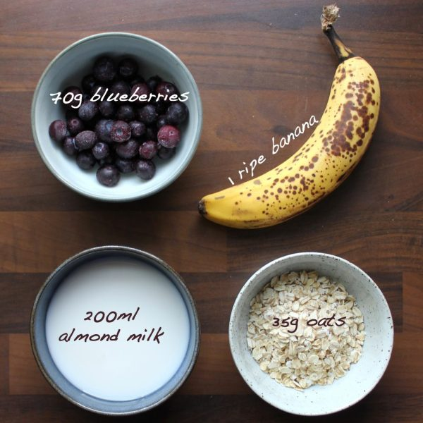 Blueberry Smoothie Ingredients writing