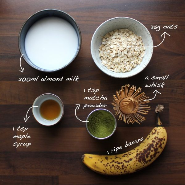 Matcha Smoothie Ingredients writing