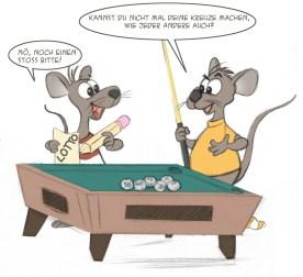"""""""Mäuse Billiard Sketch"""" für Lotto"""