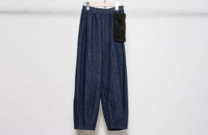 Denim volume pants / with fur pocket