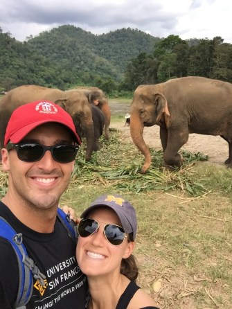 At an elephant sanctuary in Chiang Mai.
