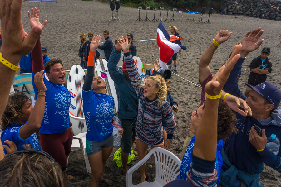 Team Costa Rica celebrates moving onto the ISA Aloha Cup Final set for Saturday. Photo: ISA / Sean Evans