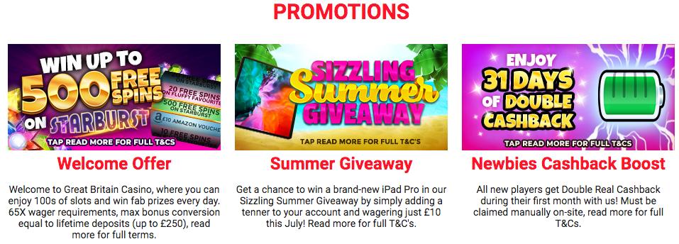 Great Britain Casino Promotions