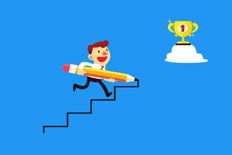 Why study in USA? Man with a pencil climbing stairs towards a prize