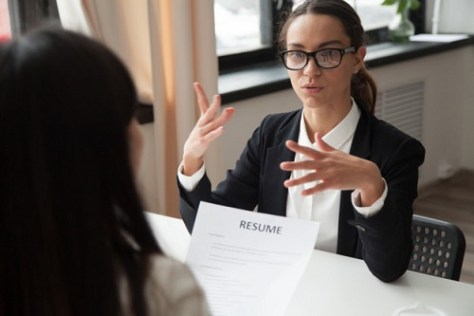 Girl speaking confidently at an interview