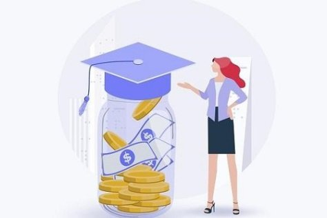 Girl standing beside a jar full of money and giving scholarship application tips
